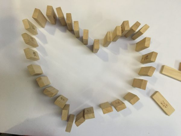 Valentine Jenga tiles Activity for kids