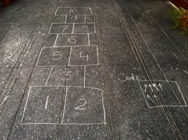 Hopscotch outdoor coding activity for kids